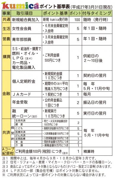 クミカポイント基準表